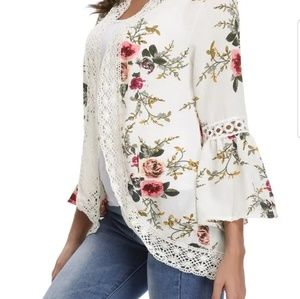 White Bell Sleeve Cardigan